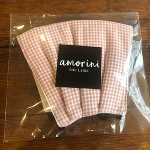 Pink white check face mask with adjustable straps